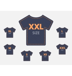 Size clothing t-shirt stickers set vector