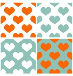 Tile pastel hearts background set vector image