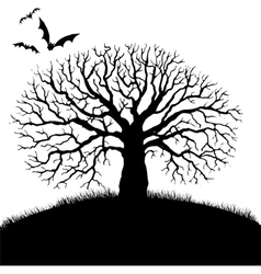 tree and bat silhouettes vector image vector image