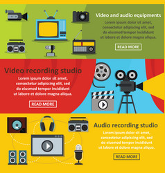 Video audio tool banner horizontal set flat style vector