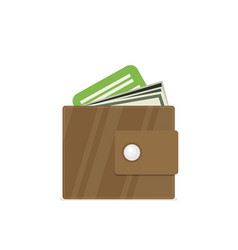 wallet flat style vector image vector image
