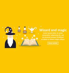 Wizard and magic banner horizontal concept vector