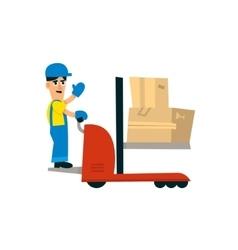 Worker operating forklift machine vector
