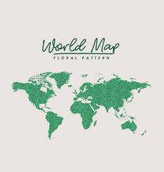 World map green floral pattern on white background vector