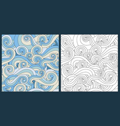 Zentangle waves ocean water antistress vector