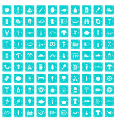 100 barbecue icons set grunge blue vector image vector image