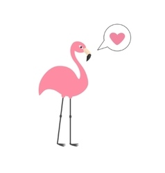 Pink flamingo on one leg Talk think bubble with vector image