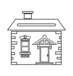 House with roof and chimney icon outline style vector