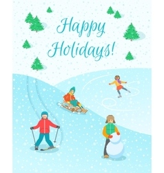 Kids play outdoor winter games background vector