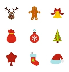 Winter holiday icons set flat style vector