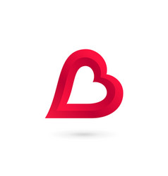 Letter b heart logo icon design template elements vector