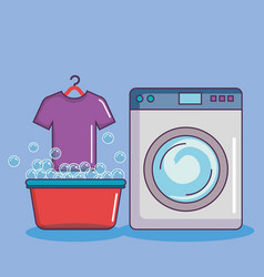 Washing machine with basin tshirt soap bubbles vector