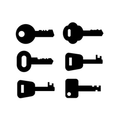 Black key icon set on white vector