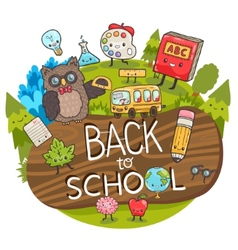 cartoon characters Back to school background vector image