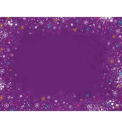 Violet christmas background with hand draw snowfla vector