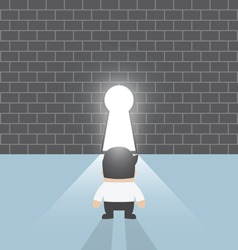 Businessman standing in front of keyhole vector