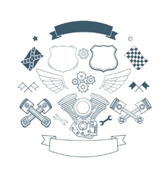 Set of biker label elements vector