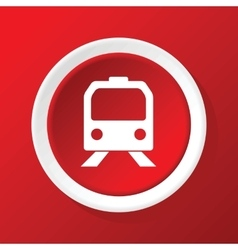 Train icon on red vector