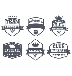 Set of vintage baseball club badge and label vector