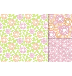 Rose flowers with green leaves seamless pattern vector