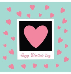Happy valentines day love card instant photo in vector