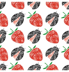 Pattern with ornamental strawberries and ladybugs vector