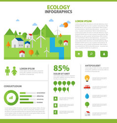 Ecology infographic elements flat design template vector
