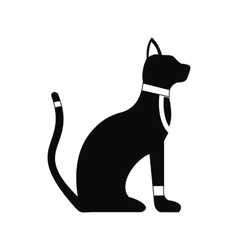 Black egyptian cat icon simple style vector