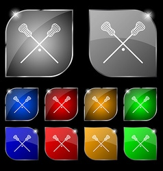 Lacrosse sticks crossed icon sign set of ten vector