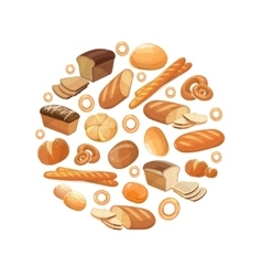 Food bread rye wheat whole grain bagel sliced vector