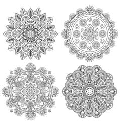 Set of Indian boho floral mandalas vector image