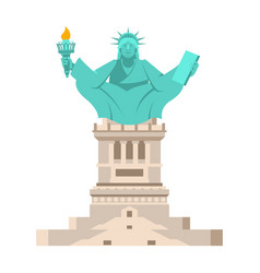 America yoga statue of liberty in lotus posture vector