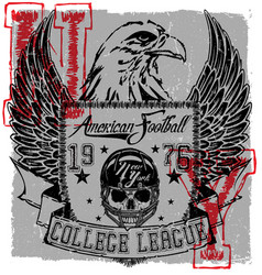 American football eagle logo tee graphic poster vector
