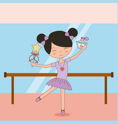 Ballerina in dance for ballet school or studio vector