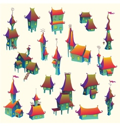 Cartoon old town set vector