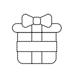 christmas gift box wrapped ribbon decoration vector image