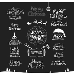 Christmas Happy New Year Calligraphic Hand drawing vector image