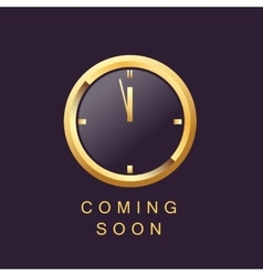 coming soon design template clock elegant gold vector image vector image
