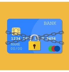 Credit card with chains and pad lock vector