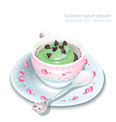 Cupcake in a mug summer delicious desserts vector