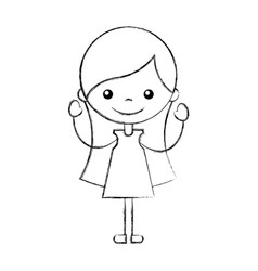 Cute girl character icon vector
