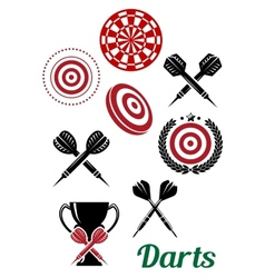 Darts sporting red and black design elements vector image vector image