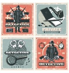 Detective Agency Posters Set vector image vector image