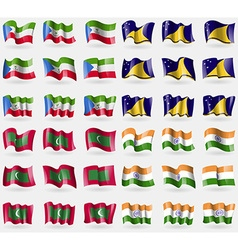 Equatorial guinea tokelau maldives india set of 36 vector