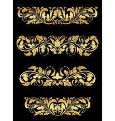 Golden floral embellishments vector image vector image