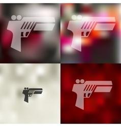 Gun game icon on blurred background vector