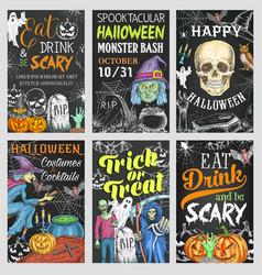 Halloween holiday trick or treat party banner vector
