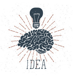 hand drawn brain with idea lettering and light vector image vector image