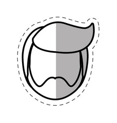 head man male line vector image