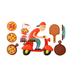 Italian cook pizza delivery boy vector